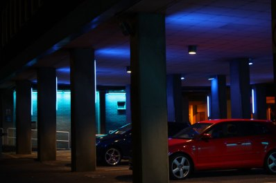 The car park in differing blues.