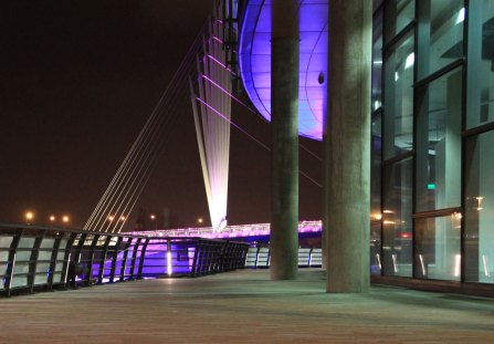 Media City UK lighting, illuminated footbridge.