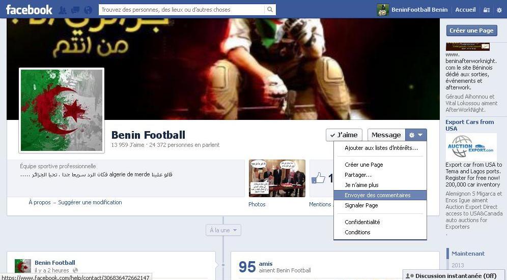 Comment Signaler la Page facebook de Beninfootball