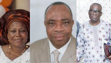 Photo of André Katari, Me Marie Cécile de Dravo Zinzindohoué et Sylvain Nouwatin sont les trois représentants du chef de l'Etat à la Cour constitutionnelle