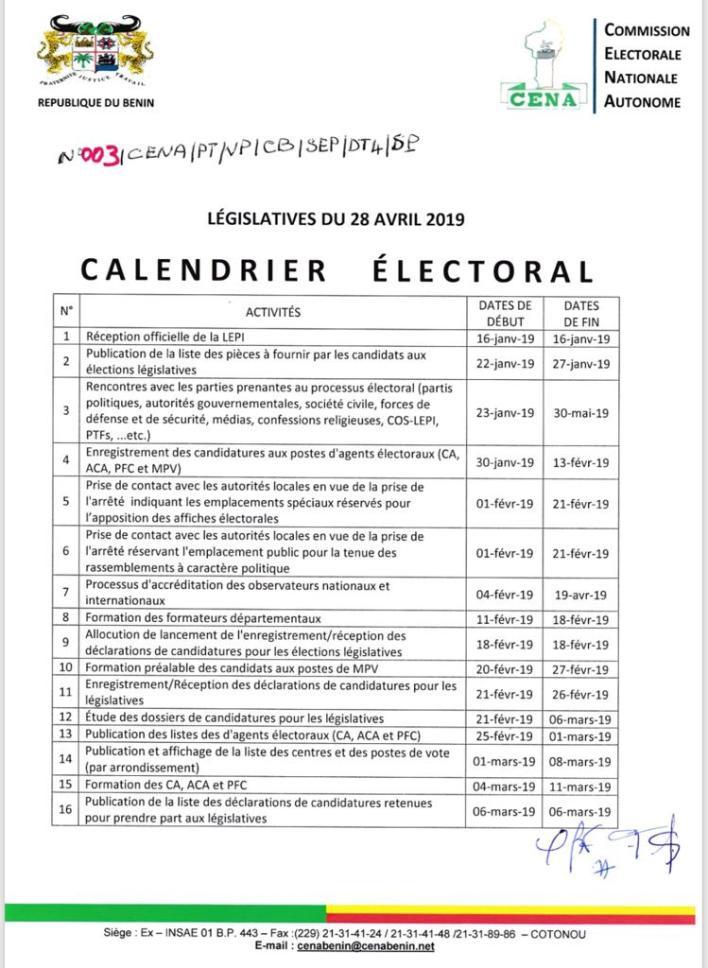 Calendrier Election 2019.Legislative 2019 La Cena Publie Le Calendrier Des
