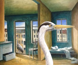 »Zimmervogel«, Benjamin Kerwien, Öl auf Holz, 30 × 25 cm, 2014