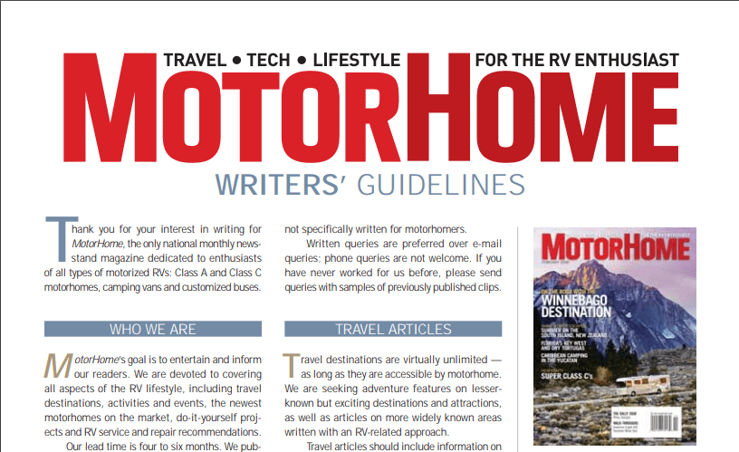 Get Paid by Writing for Motorhome Magazine