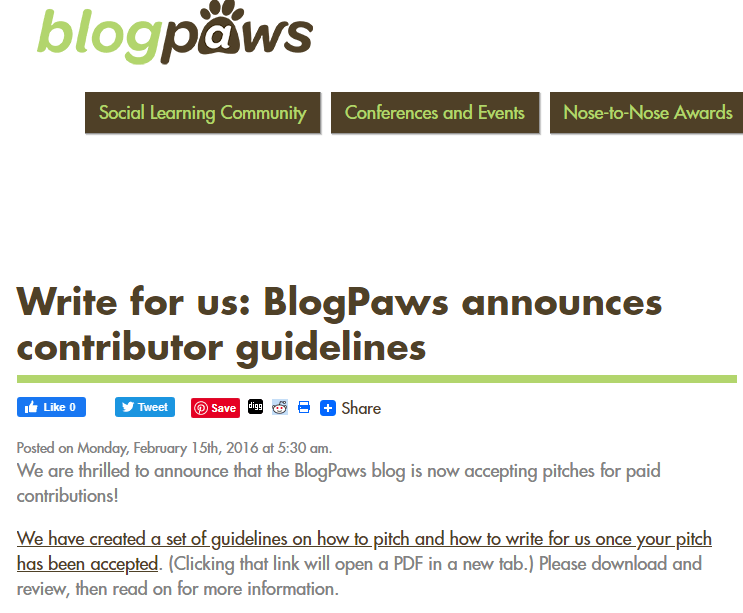 Write For Blog Paws