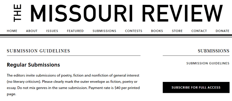Write For Missouri Review