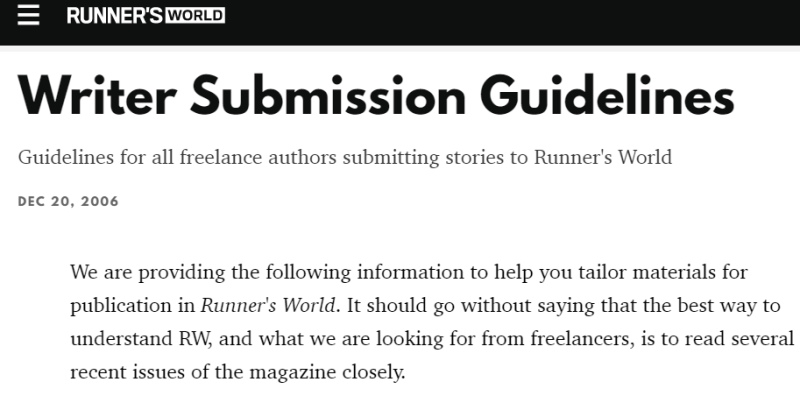 Write For Runners World