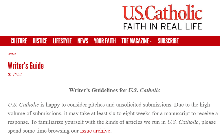 Write About Religion For US Catholic