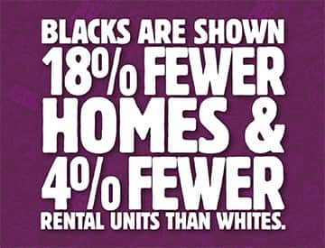 Blacks are shown 18% fewer homes and 4% fewer rental units than whites.