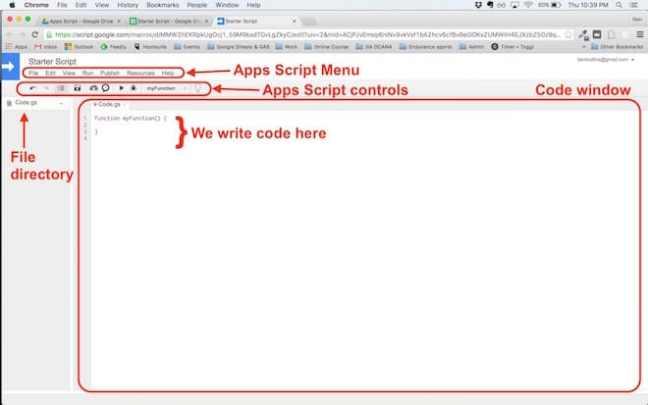 Jendela editor Google Apps Script