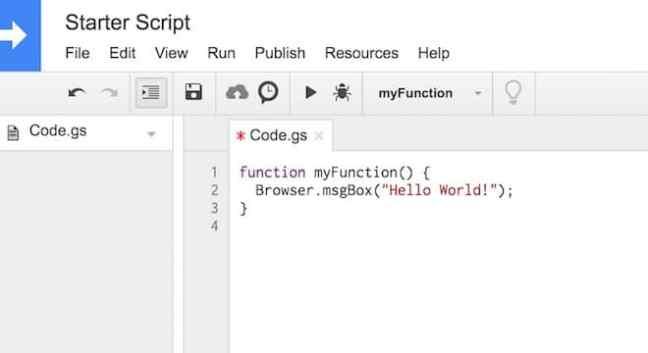Menu editor tutorial skrip Google Sheets