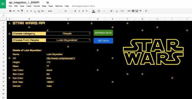 API Star Wars di Google Sheet