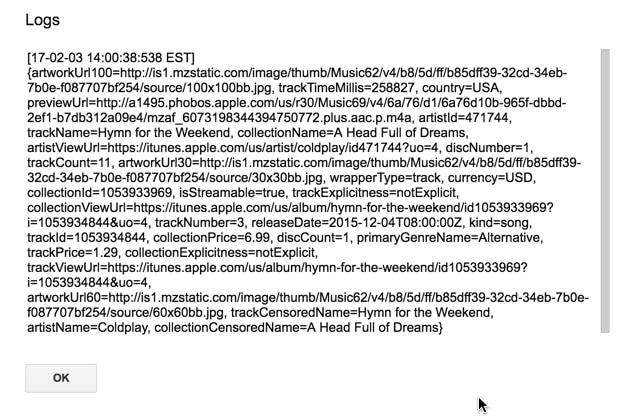 Hasil iTunes api data