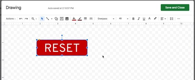 Gambar tombol Google Sheets