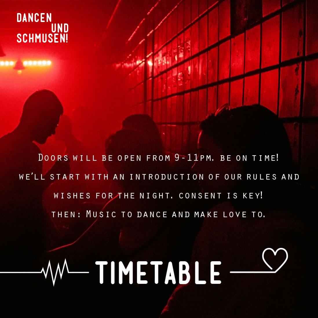 Dancen und Schmusen! Timetable