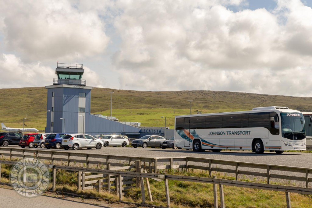 Johnson Transport Coach parked at Scatsta Airport, Shetland