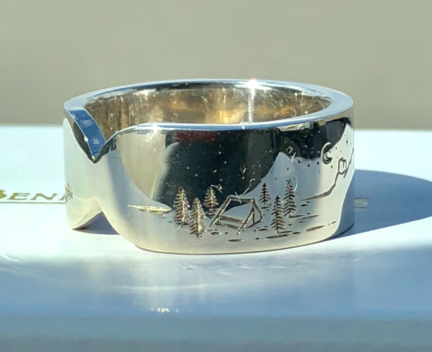 Tent and trees ring engraved