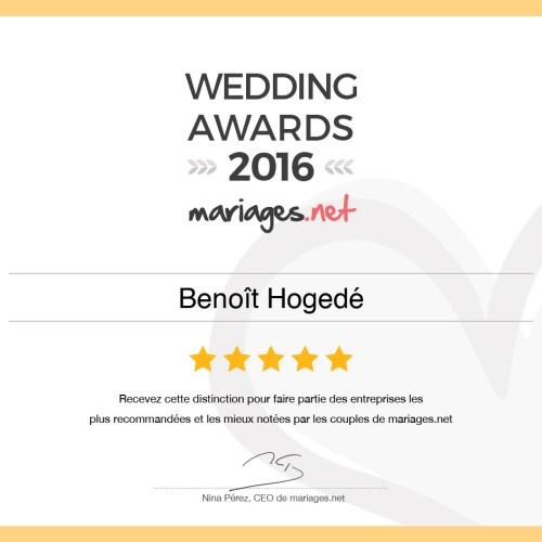 Wedding Awards 2016 mariage Benoît Hogedé Photographe Vidéaste Dunkerque