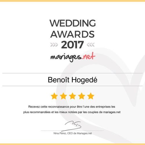 Wedding Awards 2017 mariage Benoît Hogedé Photographe Vidéaste Dunkerque