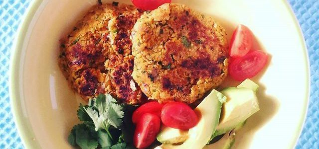Chickpea and Almond Burger with Avocado Salad
