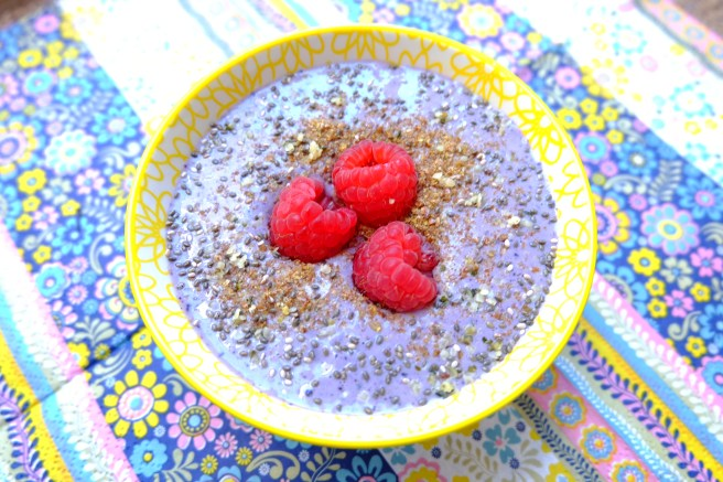 berry, flax and chia topped tofu smoothie bowl