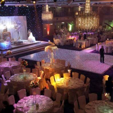 Room Decor with chandeliers and LED dance floor