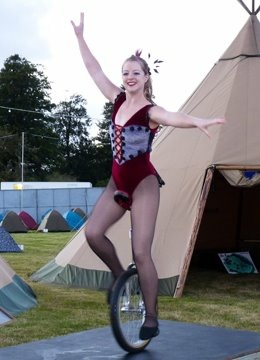 Bensons Agency Acrobats and circus performer on unicycle