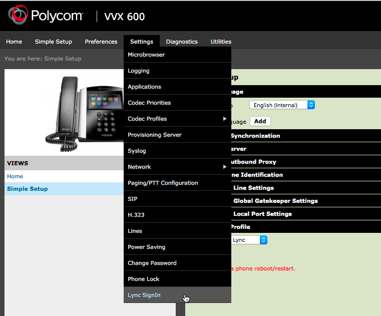 Lync Sign In Menu Option