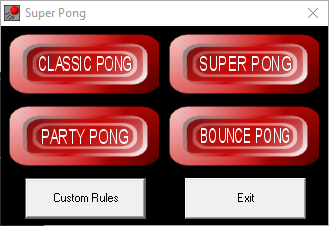 Shows the different game modes: Classic, super, party and bouncey