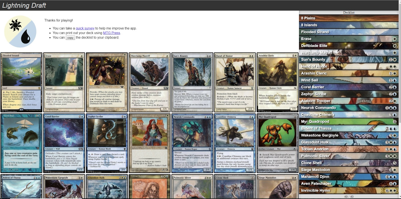 Post-draft page for lightning draft