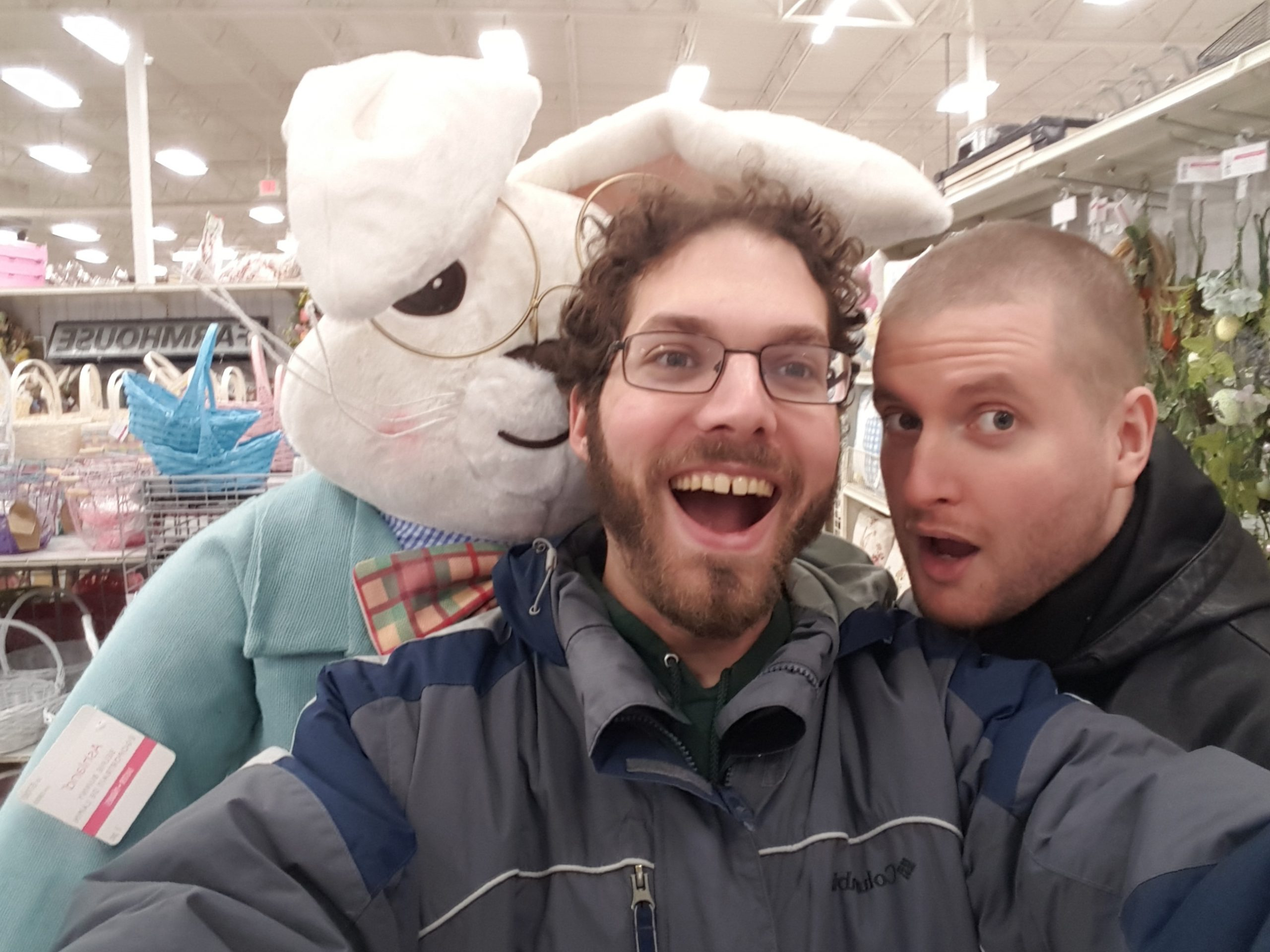 John, I, and an easter bunny manakin at a fabric store