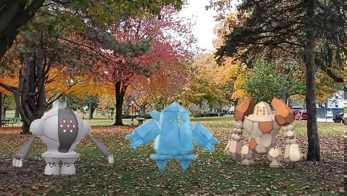 Fall trees and some Pokemon from Pokemon Go