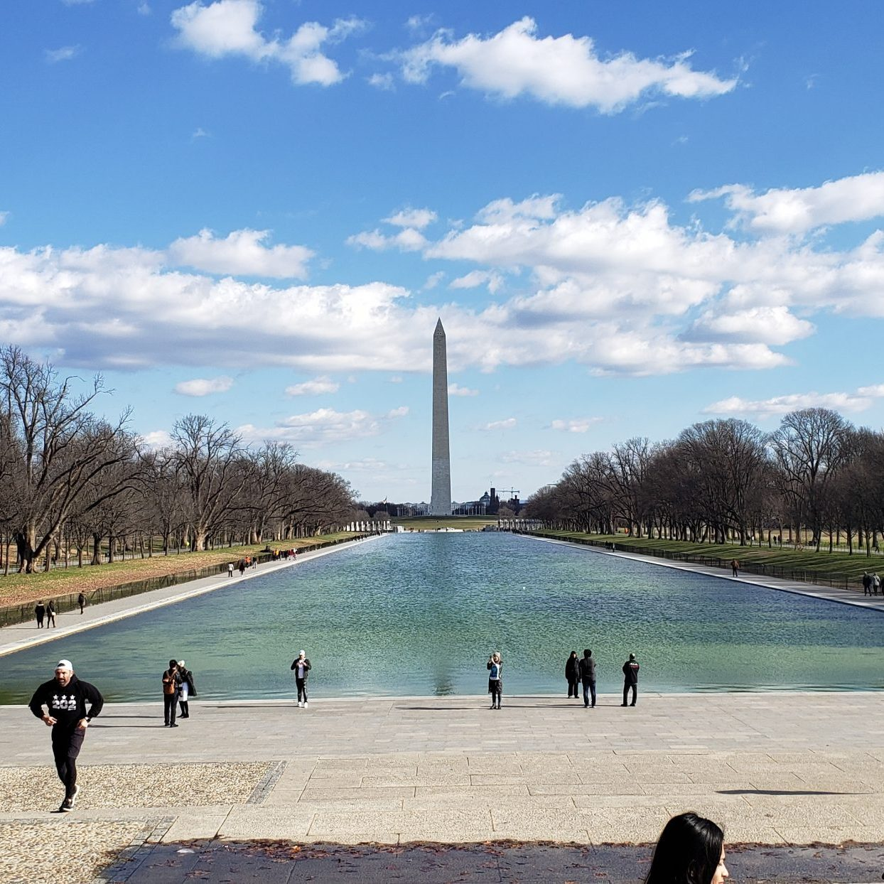 It's a washington monument as seen across the big reflecting pool.