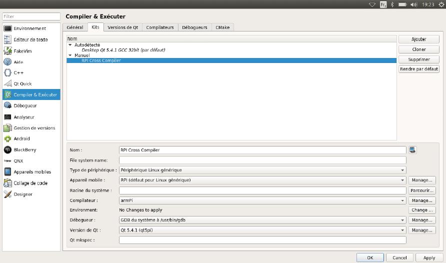 Configuration du kit de configuration pour le Raspberry Pi.
