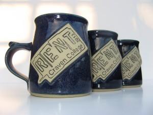 named mugs made at Bentham Pottery