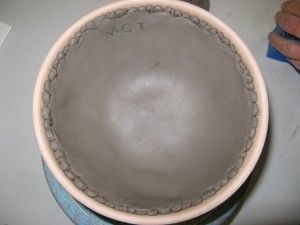 smooth clay inside press mould