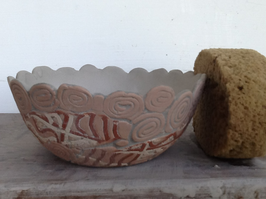 glazed bowl with outside wiped off
