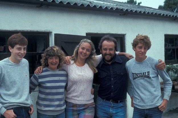 "Paul, Kathy, Sarah Kennedy, Barrie and Lee, during a pause in the ""Game for a Laugh"" filiming"