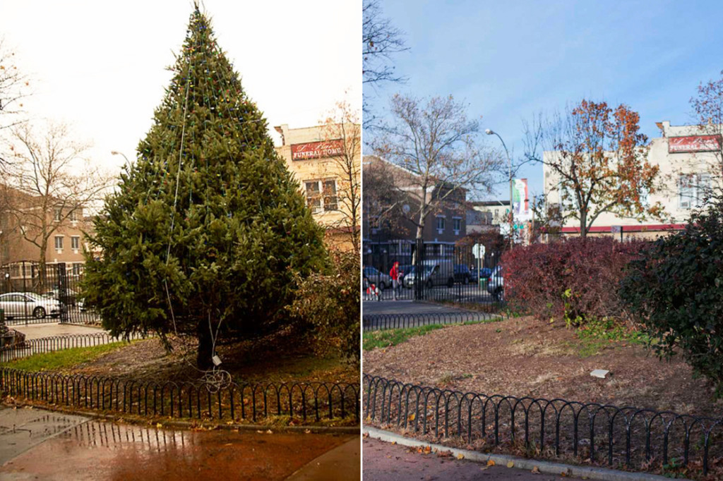 The annual Christmas tree lighting at Ciccarone Park in The Bronx had to be canceled this year. Photo: Facebook / James Messerschmidt