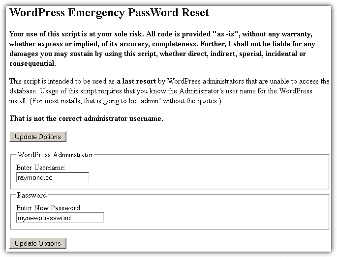Reset Your Wordpress Admin User Password