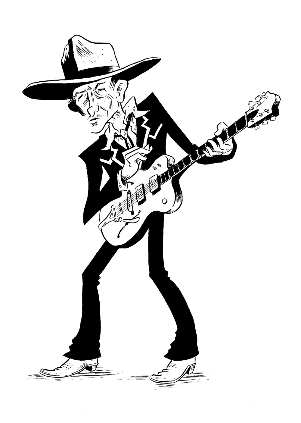 Image result for bob dylan black and white cartoon