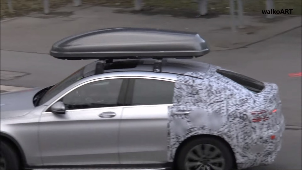 mercedes glc coupe with roof box caught