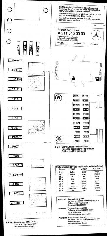 E500 Fuse Diagram