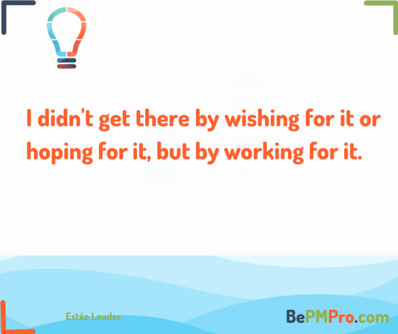 I didn't get there by wishing for it or hoping for it, but by working for it.