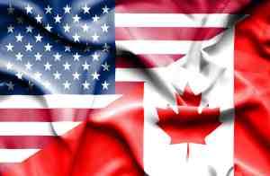 Waving flag of Canada and USA