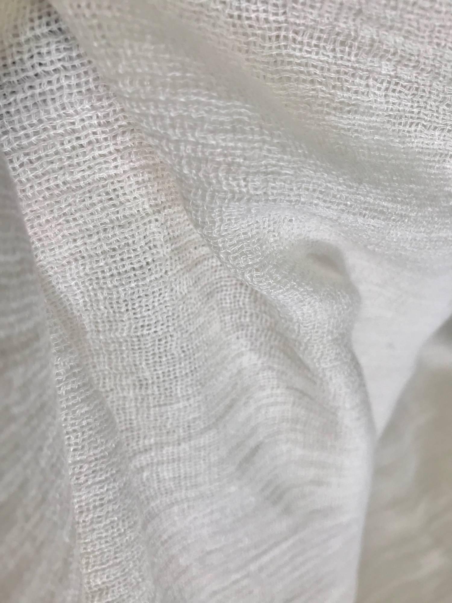 tissu voilage de lin blanc