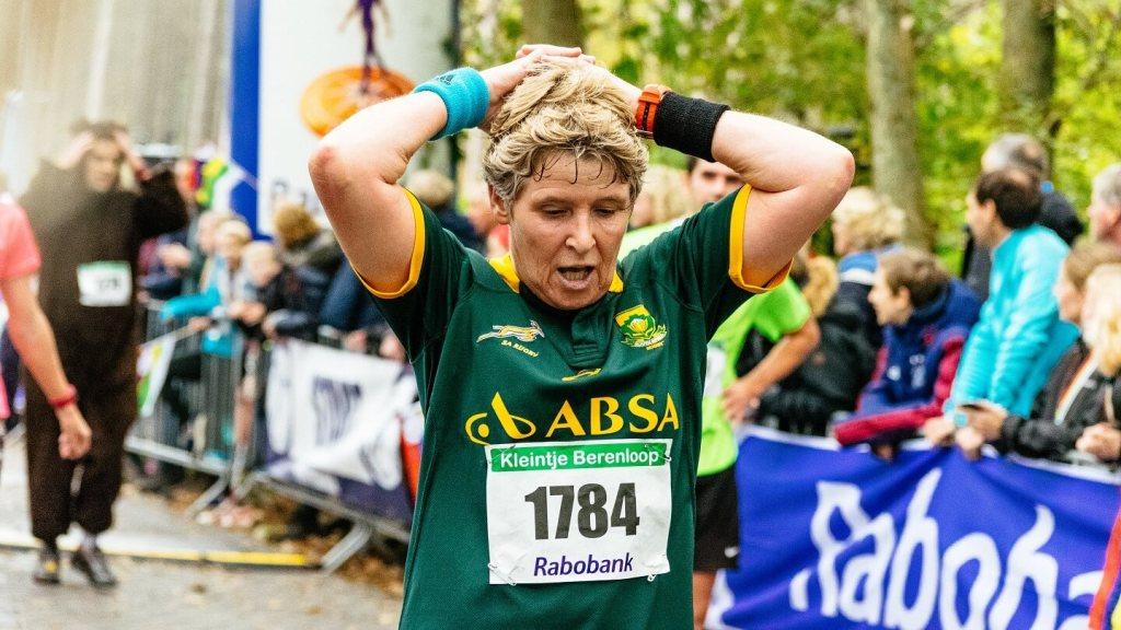 Berenloopster na de finish van de Kleintje Berenloop 2017.