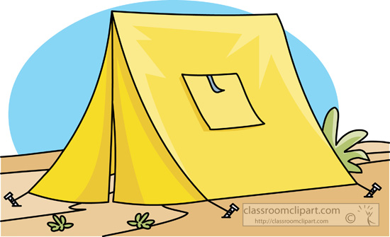 yellow tent at camp clipart