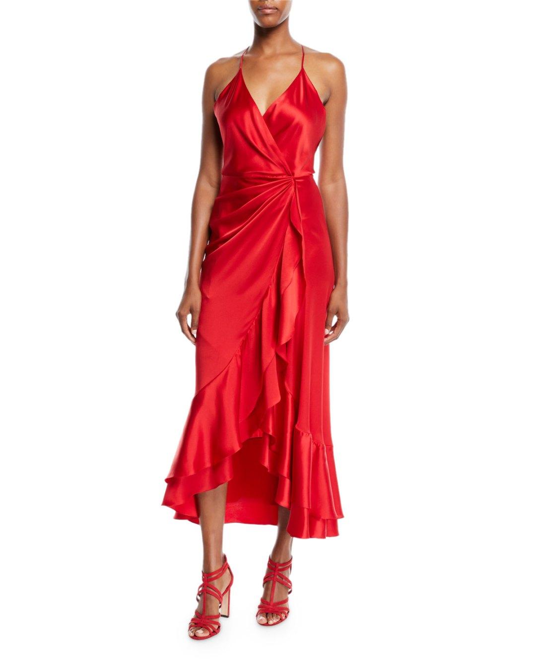 5486617964a JOHANNA ORTIZ – V-Neck Sleeveless Crisscross Asymmetric Drape Silk  Charmeuse Cocktail Dress – Bergdorf Goodman (Neiman Marcus) –  1