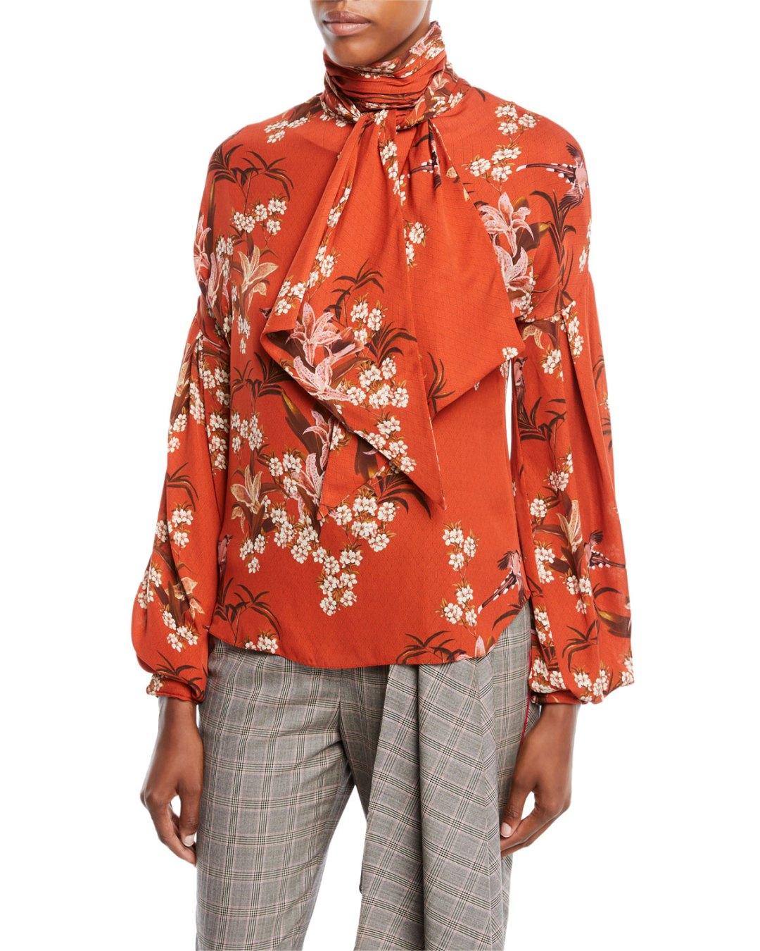 c4f60cd4613 JOHANNA ORTIZ – La Recoleta Tie-Neck Long-Sleeve Floral-Print Silk  Georgette Blouse – Bergdorf Goodman (Neiman Marcus) –  1