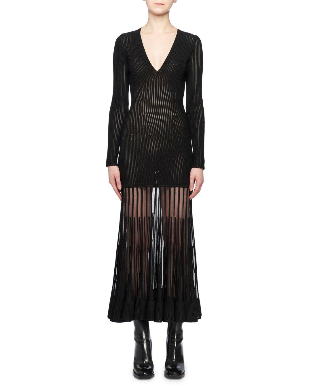 fd50f7c314ed3 ALEXANDER McQUEEN – V-Neck Long-Sleeve Ribbed Sheer Bottom Maxi Dress –  Bergdorf Goodman (Neiman Marcus) –  3